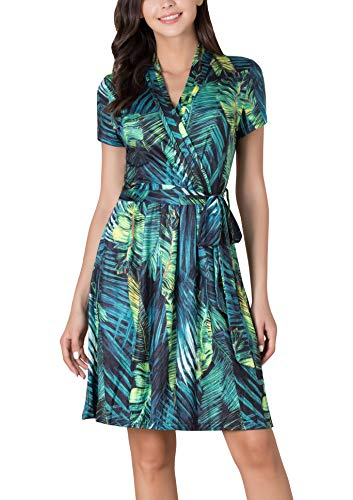 Le Vonfort Women's Crossover V Neck Casual Short Sleeve Swing A Line Work Belted Faux Wrap Dress Green Leaf X-Large ()