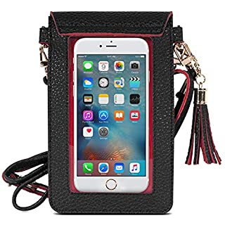 MoKo Cell Phone Bag, PU Leather Crossbody Bag Mini Phone Pouch Compatible for iPhone SE 2020/11 Pro/11/Xs Max/XR/Xs/X, Samsung Galaxy Note 10/S10e/S10/S10P/S20, Google Pixel 3a/3a XL - Black + Red