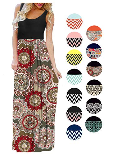 LIYOHON Womens Summer Striped Print Loose Maxi Dress Contrast Sleeveless Tank Top Floral Print Long Maxi Dresses for Women 02 Black Multi-M