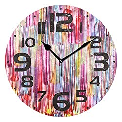 LSDINDF Kitchen Clock Big Oil Painting Colorful Decorative Wall Clock Non-Ticking Silent Outdoor Patio Clock for Home