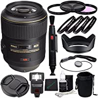 Nikon AF-S VR Micro-NIKKOR 105mm f/2.8G IF-ED Lens + 62mm 3 Piece Filter Set (UV, CPL, FL) + 62mm +1 +2 +4 +10 Close-Up Macro Filter Set with Pouch + LENS CAP 62MM + 62mm Lens Hood + Cloth Bundle