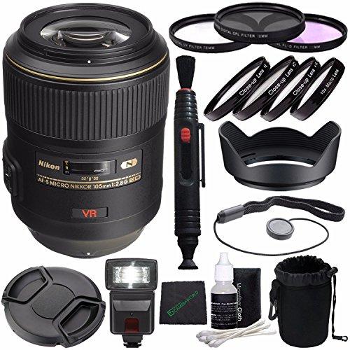 Nikon AF-S VR Micro-NIKKOR 105mm f/2.8G IF-ED Lens + 62mm 3 Piece Filter Set (UV, CPL, FL) + 62mm +1 +2 +4 +10 Close-Up Macro Filter Set with Pouch + LENS CAP 62MM + 62mm Lens Hood + Cloth Bundle ()