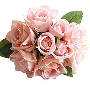 YJYdada 9 Heads Artificial Silk Fake Flowers Leaf Rose Wedding Floral Decor Bouquet (F) 2