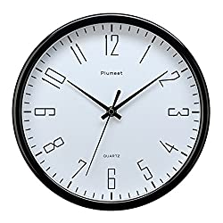 Plumeet 10 Silent Wall Clock with Large Graceful Numbers and Non-ticking Digital, Modern Design Good for Bedroom and Kitchen Battery Operated (Black)