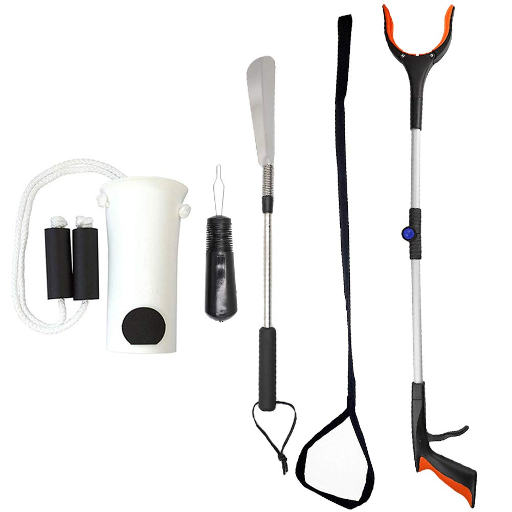 BUYITNOW Premium 5-Piece Hip Knee Replacement Kit, Surgery Recovery Set, Sock Aid, Button Hook, Extra Long Shoe Horn, Leg Lifter, Rotating Grabber by BUYITNOW