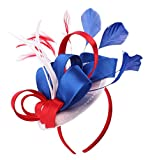 Felizhouse Fascinator Hats for Women Feather Cocktail Party Hats Bridal Kentucky Derby Headband, #1 Satin Us Flag Color, One Size