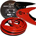 NoOne Booster Jumper Cable 6 Gauge x 12 Ft 400A Medium Duty Booster Cables with Built-in LED Light, Protective Glasses, Safety Gloves in Carry Bag