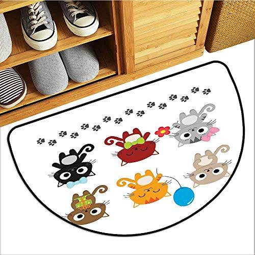 Axbkl Interesting Doormat Cat Partying Kittens Illustration Cartoon Style with Paw Prints Balloon Present Hair Bow Suitable for Outdoor and Indoor use W24 xL16 Multicolor