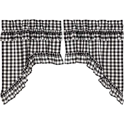 VHC Brands Farmhouse Kitchen Curtains Annie Rod Pocket Cotton Hanging Loops Ruffling Buffalo Check Swag Pair Black Country ()