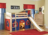 Bolton Furniture 9811200LT2BR Cottage Low Loft Bed, Natural, with Bottom Blue/Red Curtain Playhouse and Slide