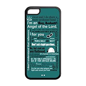 Funny SPN Supernatural Quotes Hard Rubber Cell Cover Case for iPhone 5C,5C Phone Cases