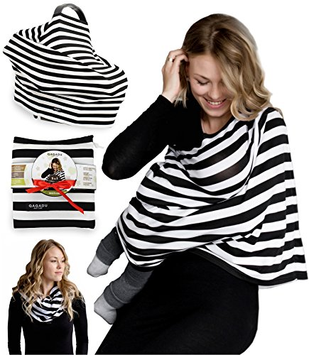 Beige Stripes Snap (Nursing Breastfeeding Cover Scarf - Baby Car Seat Canopy - Nursing Pads, Pouch & Gift Pack Set - Shopping Cart, Stroller, Carseat Covers for Girls and Boys - Best Multi-Use Infinity Stretchy Shawl)