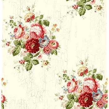 Wallpaper Designer Victorian Antique Looking Blue Pink Red