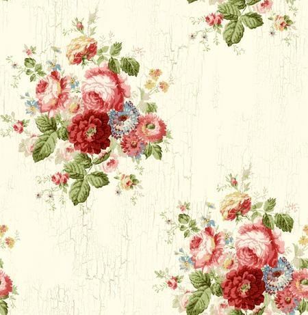 Wallpaper Designer Victorian Antique Looking Blue Pink Red Green & Gold Floral Roses on Cream Faux Crackle
