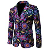 Domple Mens Linen Cotton Long Sleeve Ethnic Print African Blazer Jacket Aspic US XS