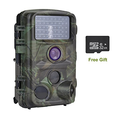 (MYPIN Trail Camera, 1080P 12MP Trail Game Hunting Camera with 32G SD Card, Infrared Night Vision and Waterproof with 0.2s Trigger Speed)
