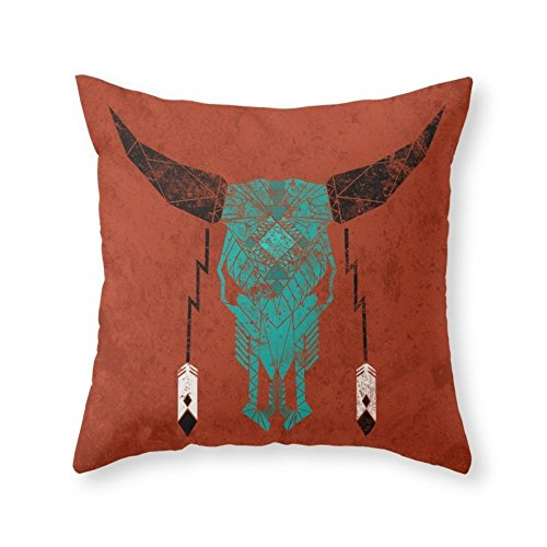 Society6 Southwest Skull Throw Pillow Indoor Cover (16'' x 16'') with pillow insert by Society6