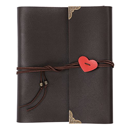 OwnMy DIY Photo Album Scrapbook PU Leather Adventure Photo Book with Corner Stickers Gifted Box - Perfect Baby Memory Book Birthday Wedding Anniversary Christmas Gift (30 Black Cards - 8 x 10 inch) ()