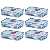 (Pack of 6) Lock & Lock Airtight Rectangular Food Storage Container 27.05-oz / 3.38-cup