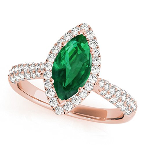 0.80 Ct. Ttw Elegant Look Diamond And Marquise Shape Created Emerald Ring In 10k Rose Gold