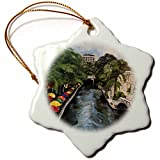 3dRose MelissaA.TorresArtTexas - Image of Painting of San Antonio Riverwalk with colorful umbrellas - 3 inch Snowflake Porcelain Ornament (orn_219684_1)