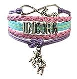 Doctor Unicorn Cute Unicorn Bracelet Wristband Handmade Rainbow Jewelry Infinity Love Charm Gifts 14 Styles (Pink Purple)