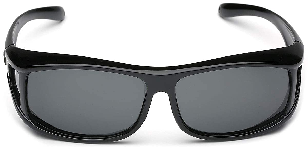 b13d4217d43 Amazon.com  Barricade Polarized Rectangular Fit Over Glasses Sunglasses  with Side Shield  Clothing