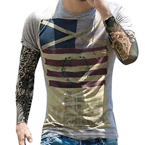 Men's Casual Vintage American Flag Slim Fit Short Sleeve T Shirt Top (S, Gray) (Georgia Striped Hoody)