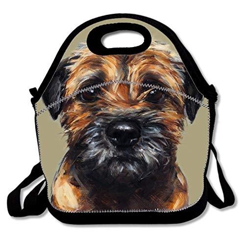 Lunch Bag, bokeh Insulated Neoprene Lunch Box Waterproof Tote Bag with Zipper for Kids, Boys, Girls, Women and Men,Border Terrier