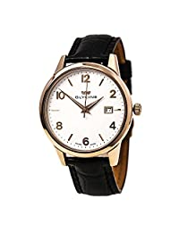 Glycine 3925-21 Men's Classic White Dial Rose Gold Steel Black Leather Strap Watch