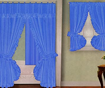 blue fabric double swag shower curtain with matching window curtain and vinyl liner