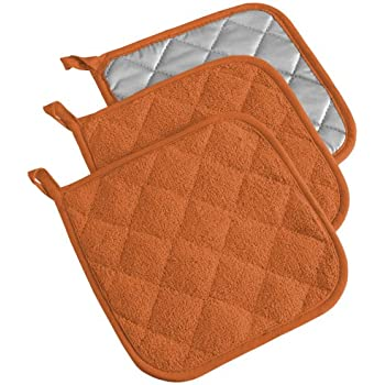 DII 100% Cotton, Terry Pot Holder Set Machine Washable, Heat Resistant, 7 x 7, Spice, 3 Piece