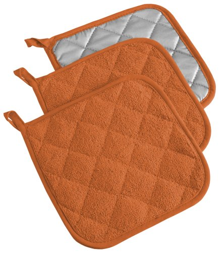 (DII, Cotton Terry Pot Holders, Heat Resistant and Machine Washable, Set of 3, Spice)