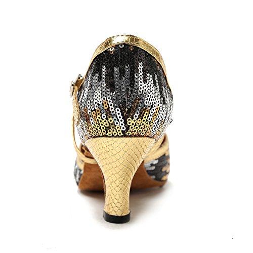 MinitooTH135 Zapatos diseño delentejuelas, correas en cruz Gold/Black-6cm Heel
