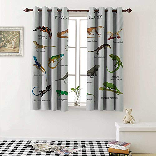 (Flyerer Reptile Customized Curtains Lizard Family Design on Plain Background Primitive Camouflage Exotic Creatures Curtains for Kitchen Windows W63 x L45 Inch Multicolor)