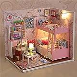 OUTERDO Wooden DIY Dollhouse Mini Handmade Kit For Girls Cabin Fairy Tale Home Decoration House Christmas Gift