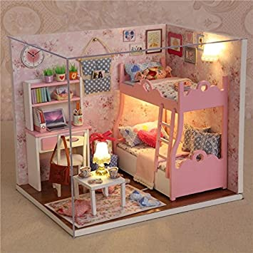 OUTERDO Wooden DIY Dollhouse Mini Handmade Kit For Girls Cabin Fairy Tale Home Decoration House Christmas