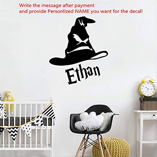 Personalized Name Harry Potter Hat Vinyl Wall Sticker for Kid Room Custom Decal Mural Bedroom Decor Nursery Home Decoration (Name Of The Hat In Harry Potter)