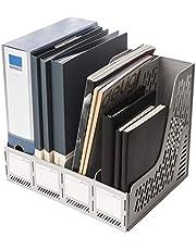 Deli Magazine File Book Holder Desktop Organizer Vertical Folder with Pencil Holder and Storage Baskets for Desk Accessories