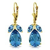 13 Carat 14K Solid Gold Chances Blue Topaz Earrings
