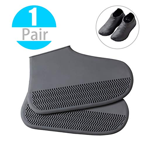 Reusable Silicone Boot Shoe Covers – DYKEISS Waterproof Rain Protectors Socks for Men Women Kids, Rubber Washable Slip-Resistant Snow Foldable Overshoes for Indoor Outdoor Workshop, 1 Pair (M, Gray)