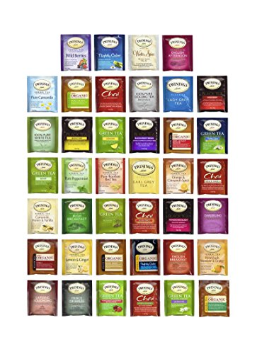 Twinings Tea Bags Sampler Assortment – 40ct with By The Cup Honey Stix
