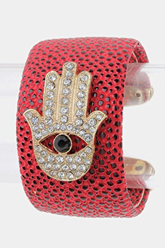 Trendy Fashion Jewelry Crystal Hamsa Faux Leather Cuff By Fashion Destination | (Red)