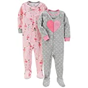 Carter's Baby Girls' 2-Pack Cotton Footed Pajamas, Ballet/Heart, 12 Months