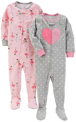 5t Cotton (Carter's Baby Girls 2-Pack Cotton Pajamas, Ballet/Heart, 5T)