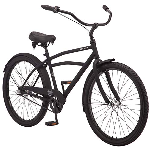 Schwinn Huron Men's Cruiser Bike, Featuring 17-Inch/Medium Steel Frame, Three-Speed Drivetrain, Full Front and Rear Fenders, and 26-Inch Wheels, Black