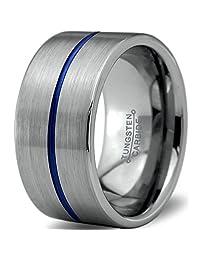 Tungsten Wedding Band Ring 12mm for Men Women Blue Silver Pipe Cut Brushed Lifetime Guarantee