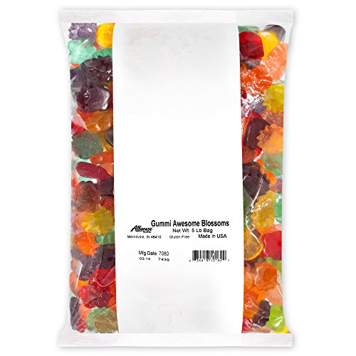 Albanese Candy Gummi Awesome Blossoms, 5-pound Bag, Assorted Gummi Flowers: Cherry, Blue Raspberry, Strawberry, Grape, Orange, Mango; Gluten Free Dairy Free Fat Free