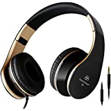 Intone I60 Lightweight Folding 3.5mm Stereo Over-ear Headphones Portable Stretch Headsets Earphones Leather Earpad with Build-in Microphone and Control Button for All Smartphones,laptops,tablets,pc,mp3/mp4,psp,ipod (Black/Gold)