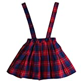 Aulase Toddler Girls Classic Plaid Pattern Suspender Skirt Fashion Overall Dress Red&Blue 2-3Y/Tag 7